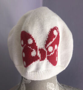 BabyGap Disney Minnie Mouse Ivory with Red Bow Cotton Hat - Size 18-24 Months
