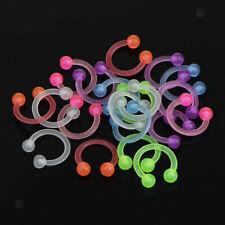 20pcs Glow in Dark Acrylic Horseshoe Circular Piercing 14G Piercing Rings