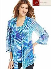 NWT$59.50 SZ M JM Collection 2 Pc Blue Printed Chiffon Layered Top Blouse New!!!