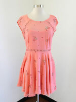 Free People Coral Floral Print Cutout Trim Pleated Dress Size 4 Spring Party