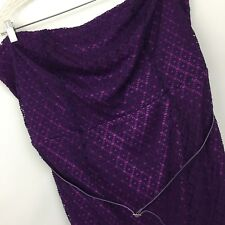 Lane Bryant strapless dress Womens 22 purple lace cocktail party belted