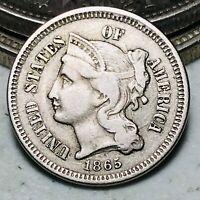 1865 Three Cent Nickel Piece 3C High Grade Choice Civil War Date US Coin CC6616