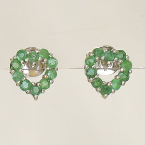 NATURAL EMERALD EARRINGS 9K 375 WHITE GOLD  SMALL STUDS MAY BIRTHSTONE BOXED NEW