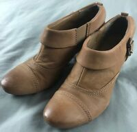 """""""CIVICO 10"""" Ankle Boot Brown Leather & Suede 3"""" Heel Slip-On Women's Sz 9 M"""