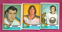 1974-75 OPC SABRES BROMLEY RC + GRATTON RC + FLOYD SMITH  CARD  (INV# C4696)