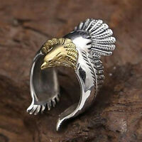UK_ Unique Flying Eagle Biker Ring Cool Punk Men's Animal Open Ring Jewelry Prec
