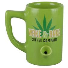 Green Ceramic Porcelain Medicinal Wake And Bake Coffee Mug Novelty Pipe Mug