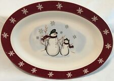 """ROYAL SEASONS Stoneware Snowman w/ Scarf & Hat* Serving Platter 14"""" in. Holiday"""