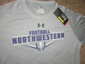 NORTHWESTERN FOOTBALL gray Under Armour short sleeve shirt men's XL NEW w TAGS