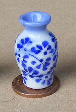 1:12 Scale Blue & White Ceramic Vase 3cm Tumdee Dolls House Flower Ornament B15s
