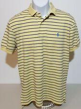 Polo Ralph Lauren Yellow & Black Striped Knit Short Sleeve Polo Shirt Mens M