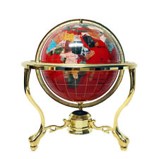 "14"" Red Ocean 3- leg Zinc Alloy Gold table stand Gem Gemstone World MAP globe"