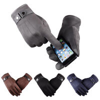2018 Mens Winter Warm Leather Fleece Lined Thermal Touch Screen Driving Gloves