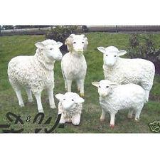 5 große SCHAFE Schafbock FAMILIE Deko Garten Tier Figuren BAUERNHOF Dekoration