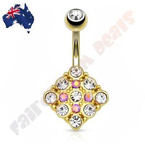Gold Ion Plated Diamond Shape Belly Ring with Pink & Clear Aurora Borealis Gems