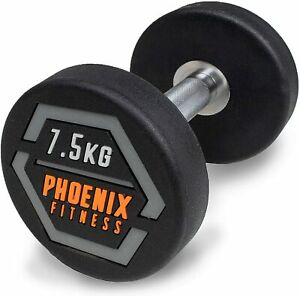 Fixed Weight Single Steel Dumbbell Heavy Strength Home Gym Fitness Workout 7.5KG