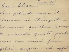 Biglietto Autografo della Signora Anna Barberini Corsini di Firenze 1880