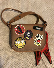 NWT Disney X Coach Patricia Saddle 23 Glove Calf Leather Mickey Patches F59373