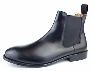 Frank James Windsor Leather Sole Pull On Chelsea Mens Ankle Dealer Boots Black