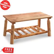Log Coffee Center Table Wood Rustic Cabin Farmhouse Natural American Furniture