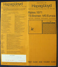HAPAG-LLOYD Rates Brochure, 1971 -- BREMEN & EUROPA