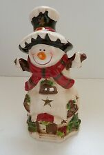 Large Christmas Snowman Ceramic Tea Light Tealight Candle Holder NEW