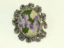 Vintage Silver Tone Embroidered Needlepoint Flower Pin Brooch