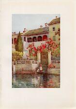 Stampa antica VILLA CON GIARDINO AFFACCIATA sul LAGO D' ORTA 1905 Antique Print