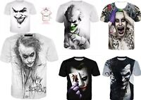 New JOKER SKETCH 3D T-shirt Why So Serious Print Graphic Tee Style Size S - 7XL