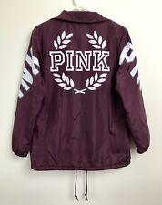 Sz XS VS Victorias Secret PINK LE Sherpa Lined Coaches Jacket Burgundy