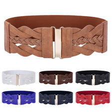Women's Wide Braided PU Leather Floral Hook Stretch Elastic Waist Belt Waistband