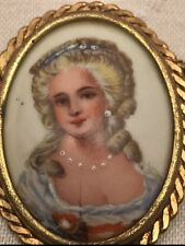Limoges France Beautiful Lady Portrait Painted Vintage Brooch Pin Cameo French