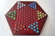 """Chinese Checkers, 12"""" Fine Wooden Chessboard, Classic Marbles, family game set"""