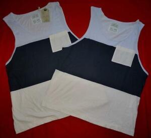 """All Saints """"Hoxton Vest"""" 2x T-Shirt Top Blue Beige (2 items) Size L Large"""