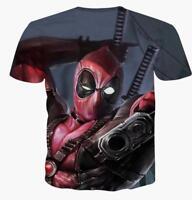Hombre Camiseta Deadpool Cómic Superhéroe Cool 3D Estampado Marvel Vengador
