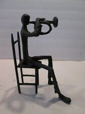 Vintage Cast Iron Man Sitting on a Chair Playing Horn Abstract Sculpture India
