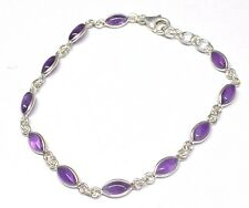 Handmade 925 Sterling Silver Bracelet - Real Marquise Pip Shape Amethyst Stones