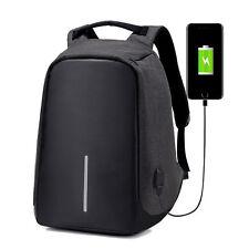 USB Charging Men Anti-Thief Black Backpack Laptop Shoulder Bag Travel Daypacks