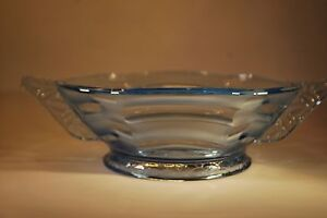 Large Art Deco Blue Glass Bowl With a Wavy Geometric Frosted Glass Pattern
