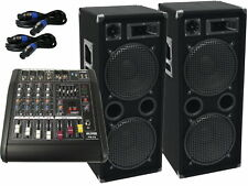 3000 Watt Sound Anlage Musikanlage USB Powermixer 3 Wege Lautsprecher Kabel  32