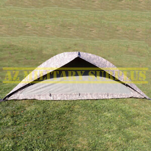 """US MILITARY ONE MAN TENT IMPROVED COMBAT SHELTER W/POLES,STAKES & POUCH: """"GOOD""""!"""