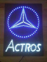 Mercedes Benz Schild mit Actros SZ / LED Emblem / 24 Volt blau /weiß