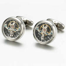 Silver Tourbillon Steampunk Watch Mechanism Cufflinks