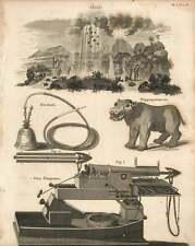 1802  Gun Harpoon Hippopotamus Hookah Huer Copperplate