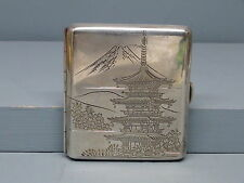 Engraved Japanese 950 Sterling Silver Cigarette Case Signed Mt Fuji & Pagoda