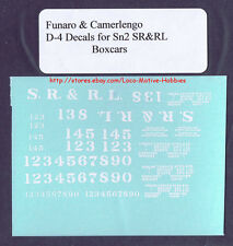 Funaro F&C D-4  SR&RL Sandy River Rangeley Lakes DECALS Boxcar S Sn2 Sn3 Rangely
