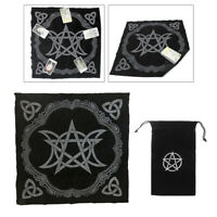 2x Altar Tarot Table Cloth Triple Pentagram Tapestry 19.29in Black w/ Card Bag