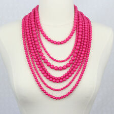 Seven Strand Layered Beads Necklace Fuchsia Hot Pink Statement Necklace
