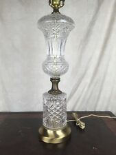 "Large 23"" Heavy Cut Glass Or Crystal Tall Lamp Light 3 way Vintage MONUMENTAL"