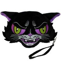 Kreepsville 666 Kattitude Cat Wristlet Goth Punk Plush Clutch Purse Bag BGWKT